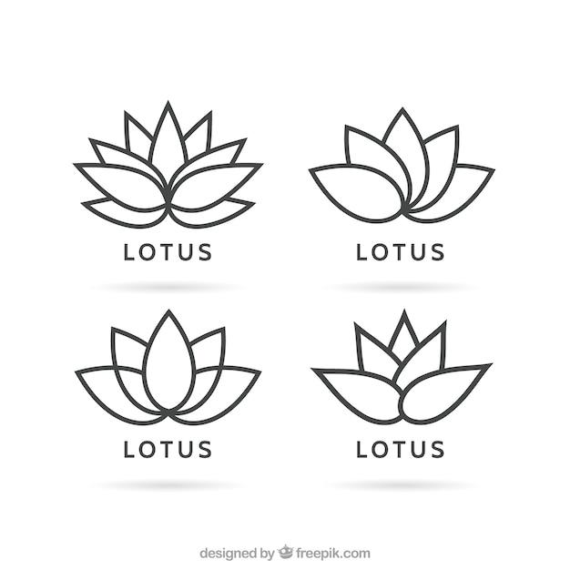 Variedade de logotipos da flor de lótus Vetor Premium