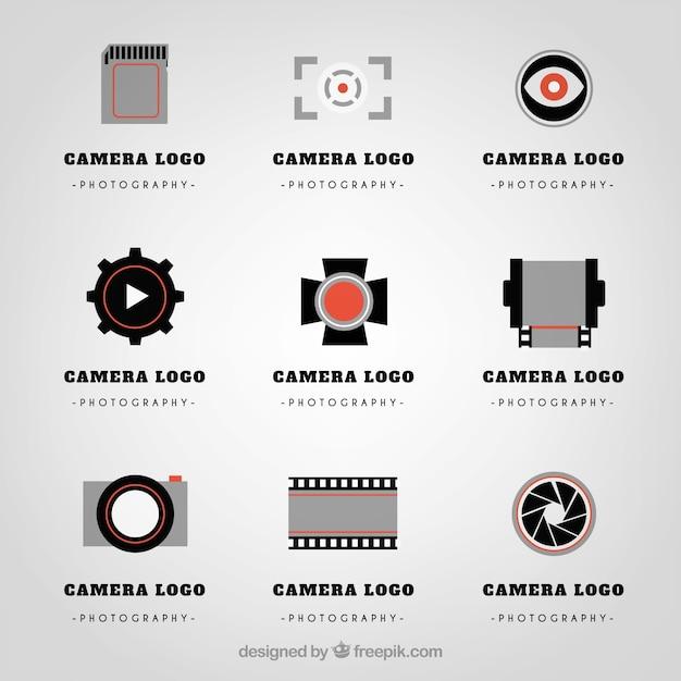 Variedade de logotipos de câmara Vetor Premium