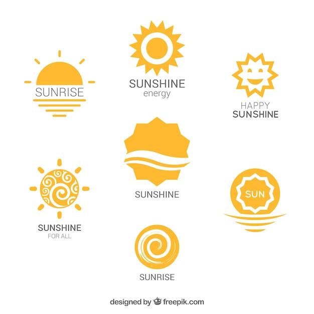 Variedade de logotipos de sol Vetor grátis