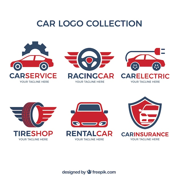 Variedade de logotipos do carro com detalhes vermelhos Vetor grátis