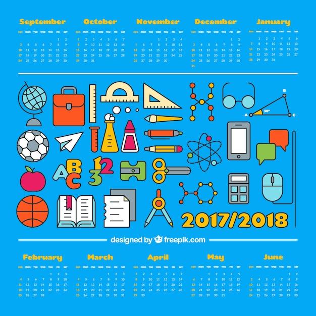 Variedade de materiais escolares e calendário Vetor grátis