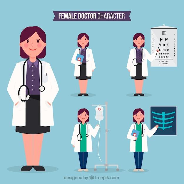 Variedade de médicos do sexo feminino especializados Vetor grátis