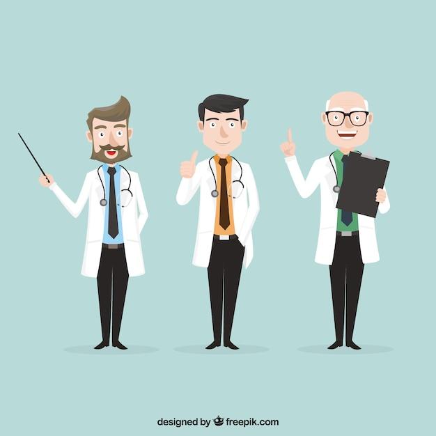 Variedade de médicos profissionais no trabalho Vetor grátis