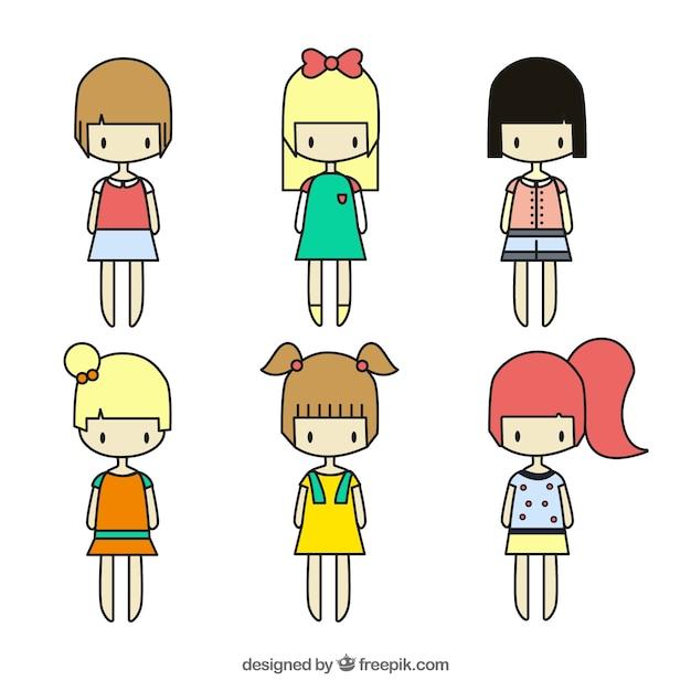 Variedade de meninas bonitos Vetor grátis