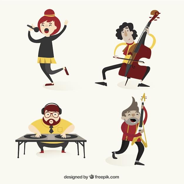 Variedade de músicos Vetor grátis