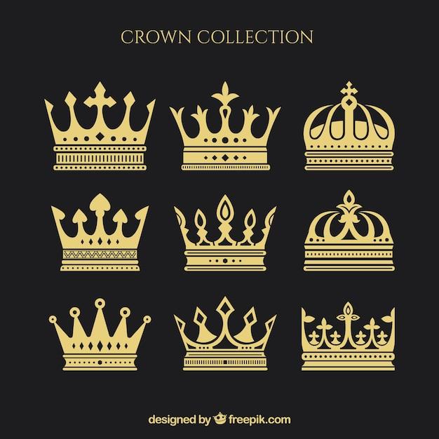 Variedade de nove coroas em desenho plano Vetor grátis