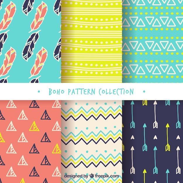 Variedade de padrões boho coloridas Vetor grátis