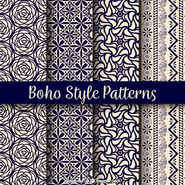 Variedade de padrões boho com belos desenhos Vetor grátis