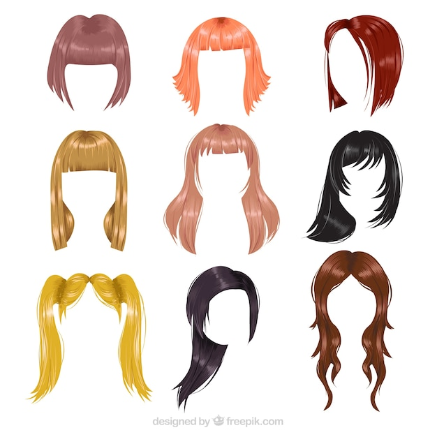 Variedade de penteados Vetor grátis