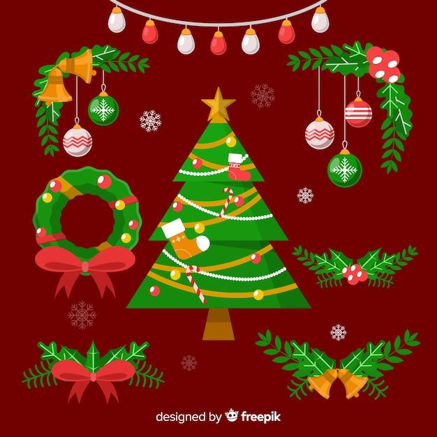 Variedade de pinheiro deixa decorações com árvore de natal Vetor grátis