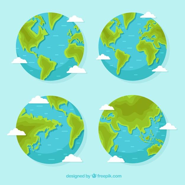 Variedade de quatro globos de terra plana Vetor grátis