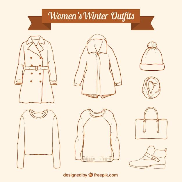 Variedade de roupas de inverno e acessórios desenhados mão Vetor grátis