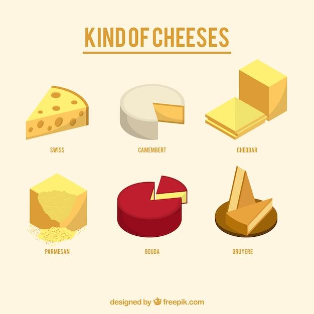 Variedade de saborosos queijos Vetor grátis
