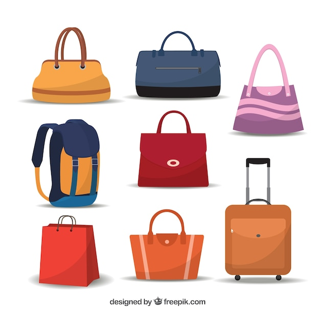 Variedade de sacos Vetor Premium