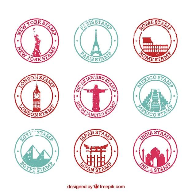 Variedade de selos de cidade redondos Vetor grátis