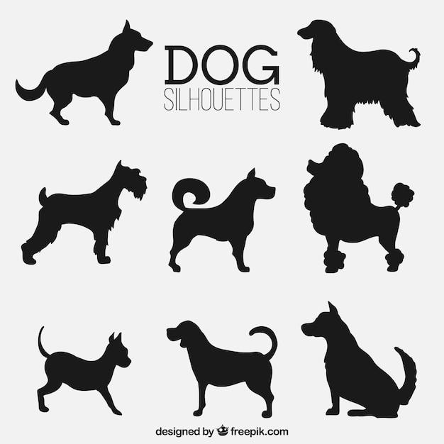 Variedade de silhuetas do cão fantásticas Vetor Premium