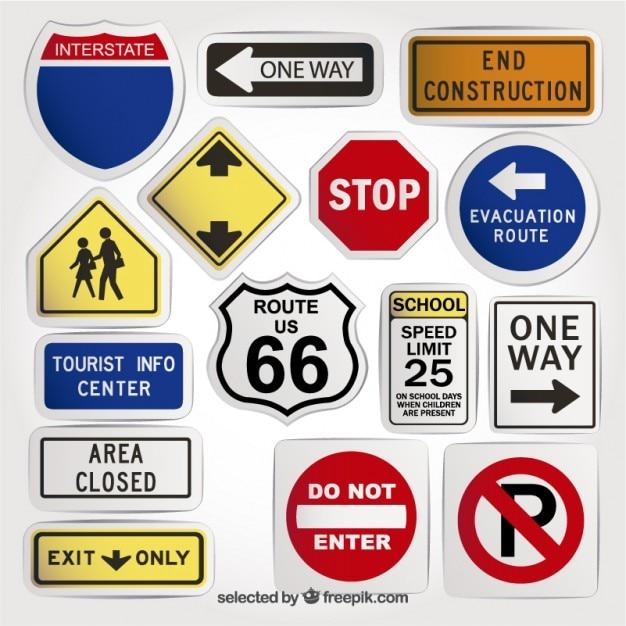 Variedade de sinais de trânsito Vetor grátis