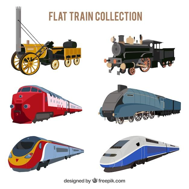 Variedade de trens planos com desenhos fantásticos Vetor grátis