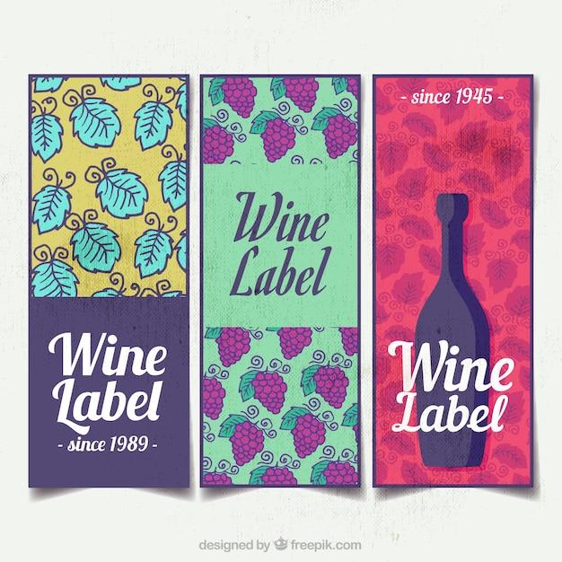Variedade de três etiquetas do vinho da aguarela Vetor grátis