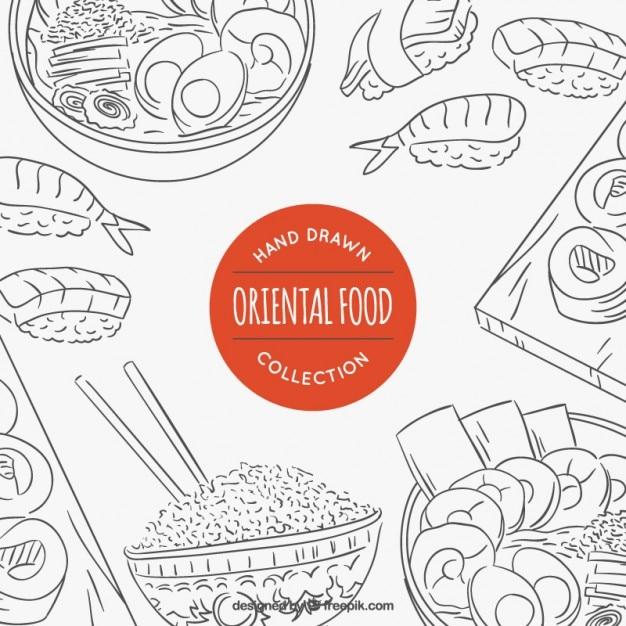 Variedade esboços de comida oriental Vetor grátis
