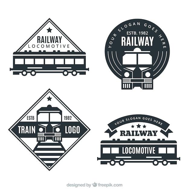 Variedade, escuro, trem, logotipos Vetor grátis