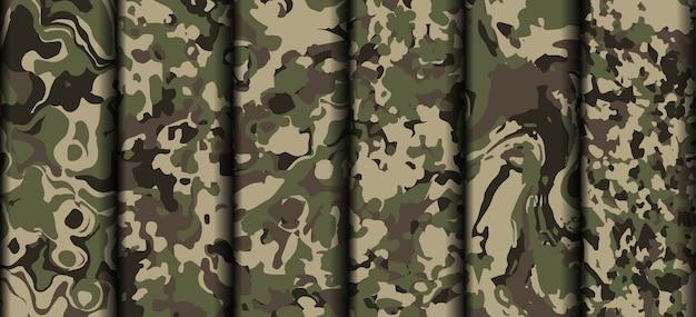 Variedade exército camuflagem roupas padrão vector Vetor Premium