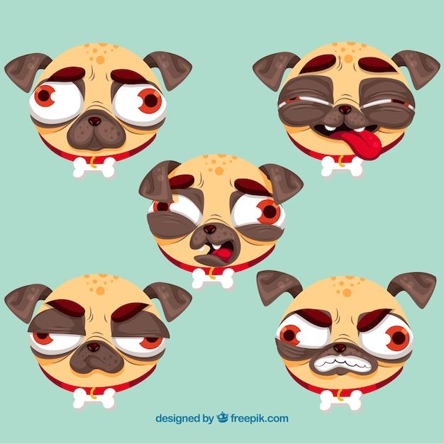 Variedade original de pugs feios Vetor grátis