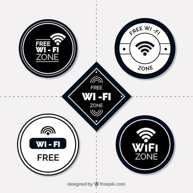 Variedade plana de adesivos wifi brancos e pretos Vetor grátis