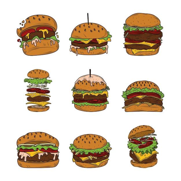 Variedades de hambúrguer, incluindo hambúrguer, cheeseburger, hambúrguer de bacon e hambúrguer de dois andares fast food Vetor Premium