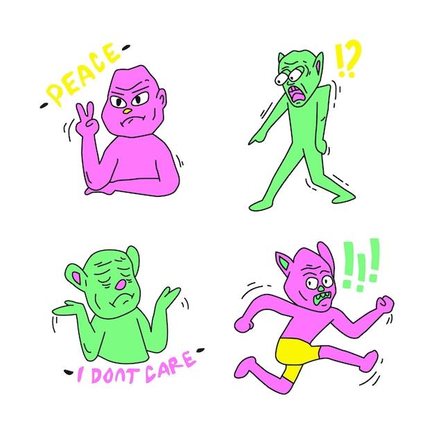 Vários adesivos de personagens engraçados com cores ácidas Vetor grátis