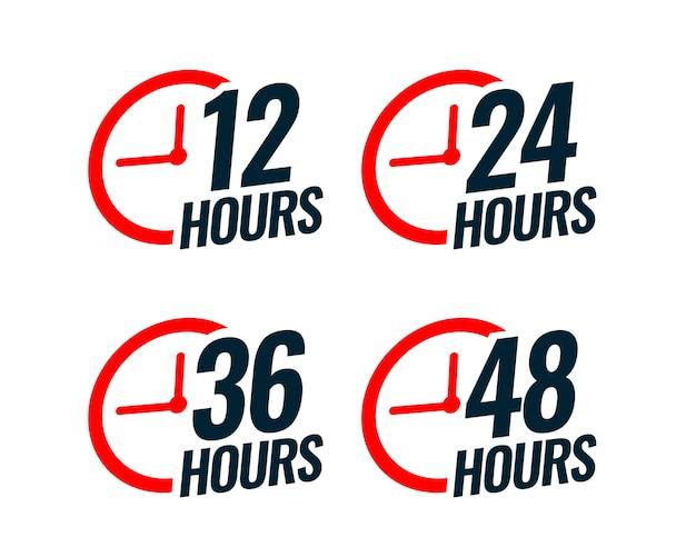 Vários adesivos de tempo com o tempo Vetor grátis