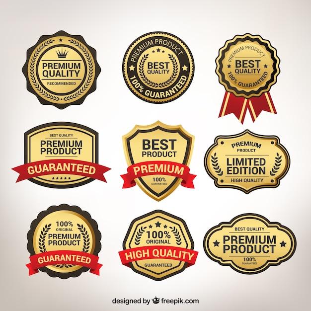 Vários adesivos superiores dourados do vintage Vetor Premium