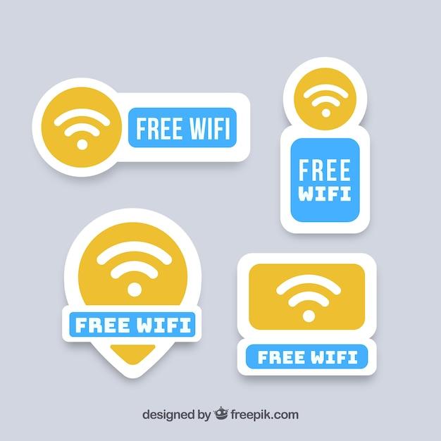 Vários adesivos wifi com elementos azuis Vetor grátis