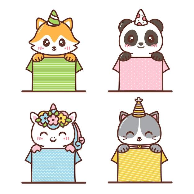 Vários animais fofos dentro da caixa de aniversário Vetor Premium