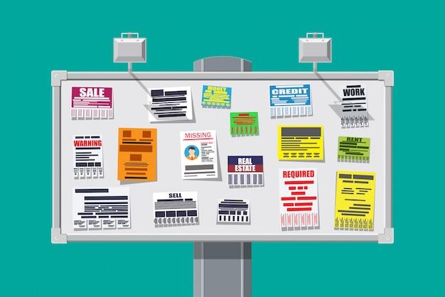 Vários anúncios de documentos destacáveis no quadro de avisos Vetor Premium