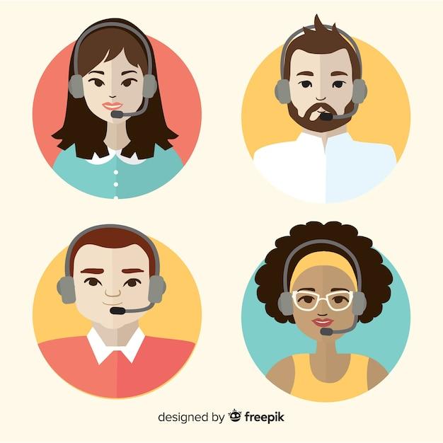 Vários avatares de call center em design plano Vetor grátis