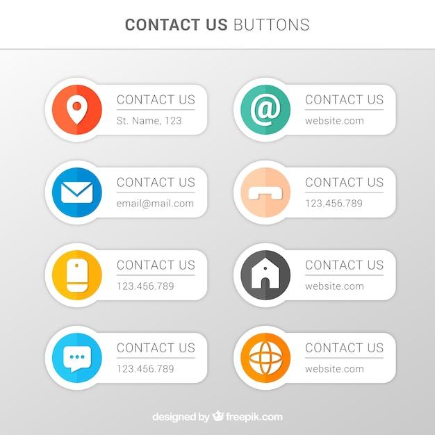 Vários botões de contacto no design plano Vetor grátis