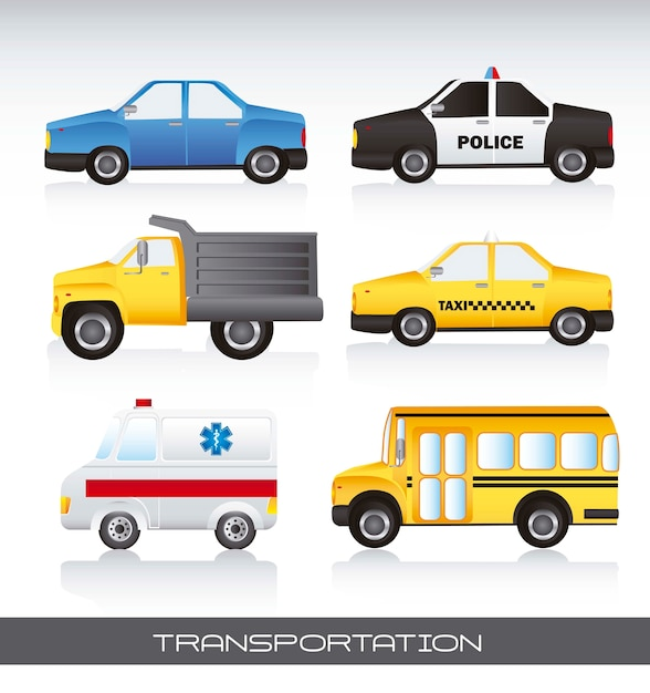 Vários carros com ilustração em vetor fundo sombra Vetor Premium