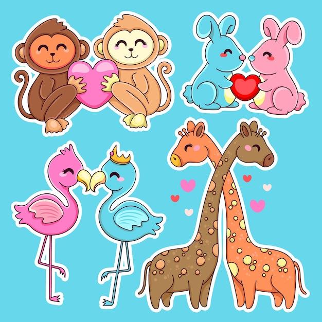 Vários casais de animais e corações Vetor grátis