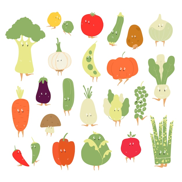 Vários conjunto de vetores de personagens de desenhos animados vegetais orgânicos Vetor grátis