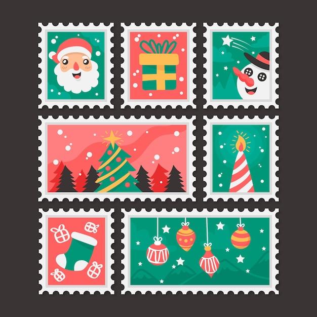 Vários design para selos de natal de design plano Vetor grátis