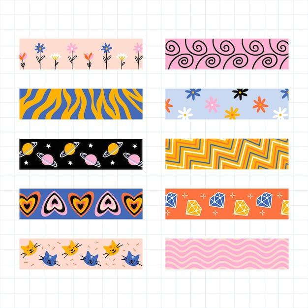 Vários designs para fita de álbum de recortes Vetor grátis