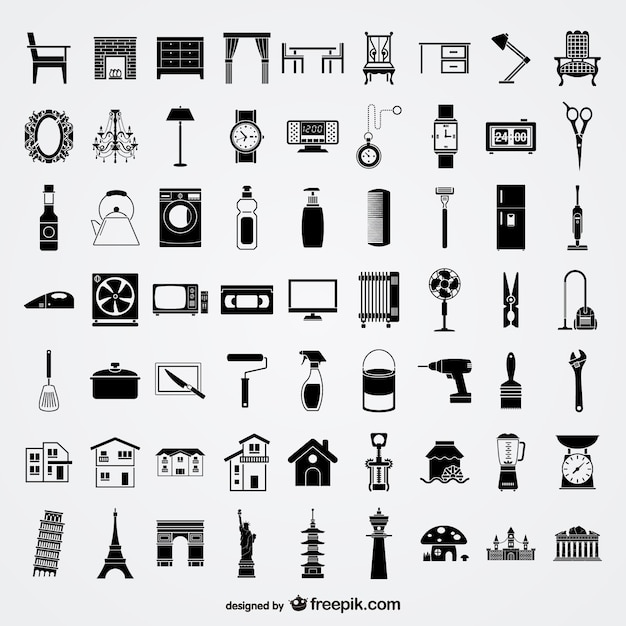 Vários elementos de esboço de elementos do vetor no estilo de vida material Vetor Premium
