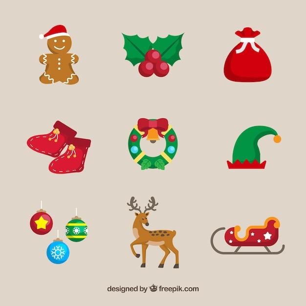 Vários elementos decorativos de natal Vetor grátis