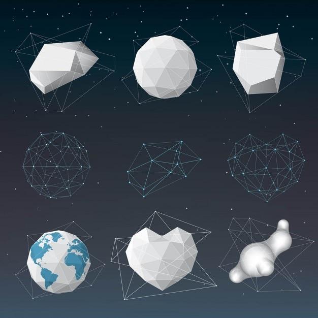 Vários elementos do projeto geométricas abstratas Vetor grátis