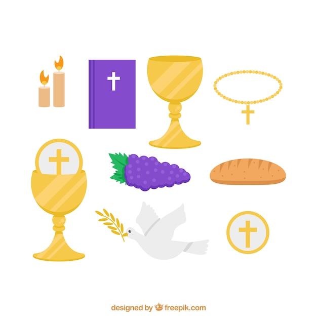 Vários elementos tradicionais de primeira comunhão Vetor grátis