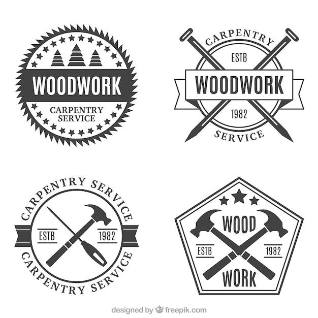 Vários emblemas da carpintaria do vintage Vetor grátis