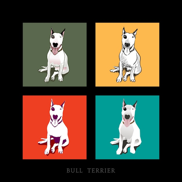 Vários estilo de um cão de bull terrier branco sentado isolado Vetor grátis