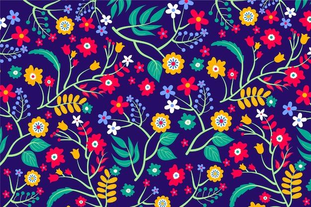 Vários fundo colorido de flores e folhas Vetor grátis