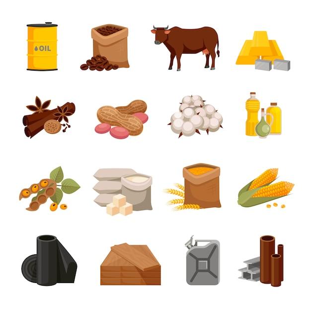 Vários ícones lisos de mercadorias com produtos alimentares e materiais Vetor grátis